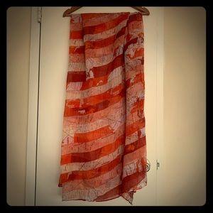 Orange red printed scarf
